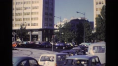 1972: vehicles in line, moving slowly. PORTUGAL Stock Footage