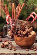 Winter spices and ingredients for cooking Stock Photos
