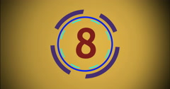Countdown. Changing Numbers From 9 to on Yellow Background. Spinning Circle Stock Footage