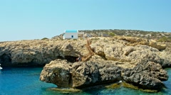 Cavo Greco, Cyprus. A traditional orthodox blue and white church Stock Footage