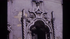 1972: middle ages doorway historical monument museum visitors PORTUGAL Stock Footage