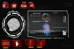 Brain - Screen Virus Detector - red 01 Stock Footage