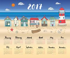 Calendar 2017 Year One Sheet, Vector Hand Drawn Beach Huts and Month Letterin Stock Illustration