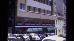 1972: car parked market area city shade PORTUGAL Stock Footage