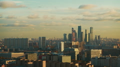 Timelapse of evening view of skyscapers Moscow City, 4k Stock Footage
