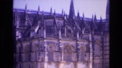 1972: fortress statue horseman monument europe building city cathedral PORTUGAL Stock Footage