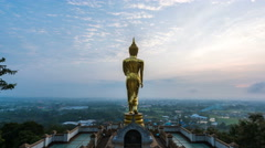 Time lapse - Buddha standing in the morning at Wat Phra That Khao Noi (zoom) Stock Footage