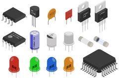 Isometric Electronic components Stock Illustration