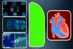 Heart - Computer Scanning - Human detector - World - blue 01 Stock Footage