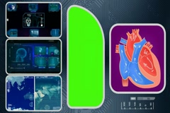 Heart - Computer Scanning - Human detector - World - blue 02 Stock Footage