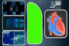 Heart - Computer Scanning - Human detector - World - blue 03 Stock Footage