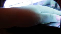 Nail gel salon. UV lamp Stock Footage