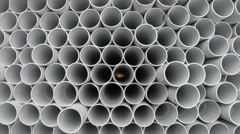 PVC pipes stacked in warehouse. Stock Footage