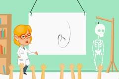 Kidney - classroom body lessons  - cartoon blonde Stock Footage