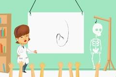 Kidney - classroom body lessons  - cartoon brunette Stock Footage