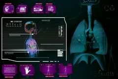 Lungs  - Monitor Analysis in System - pink 01 Stock Footage