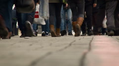 City People Walking on the Sidewalk. Individuals Wearing Jeans, Pants, Stock Footage