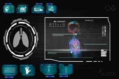 Lungs - Circle Monitor - blue 01 Stock Footage