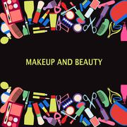 Vector background of MakeUp and beauty cosmetic Symbols. Stock Illustration