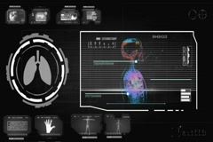 Lungs - Circle Monitor - grey 01 Stock Footage