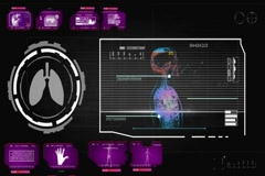 Lungs - Circle Monitor - pink 01 Stock Footage