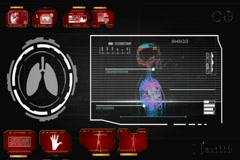 Lungs - Circle Monitor - red 01 Stock Footage