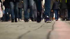City View. People Walking on the Sidewalk. Strolling Crowd on the Stone Stock Footage