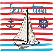 Summer Vector Illustration, Yacht, Anchor, Navy objects and Lettering. Stock Illustration