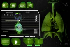 Lungs - Super Spy Monitor - green 01 Stock Footage