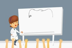 Vagina - white board  - cartoon brunette Stock Footage