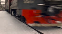 Railway Station. Red Train Coming, Passing By, Moving Fast. Car Wheels Stock Footage