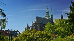 View of the Prague Castle and Saint Vitus Cathedral from the Royal Gardens in Stock Footage