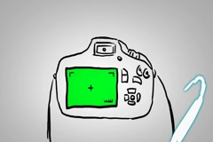 Camera DSLR - Hand drawn - Animation - outline - White Background Stock Footage
