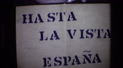 1972: leaving spain sign at international border crossing PORTUGAL Stock Footage