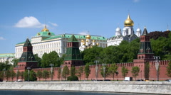 Moscow City Historical Place. Big Kremlin Palace. Red Brick Wall, Towers. Stock Footage