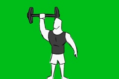 Grey Man Lifting Weights - Animation - Hand-Drawn - Green Screen - Loop Stock Footage
