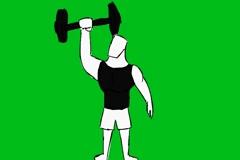 Man Lifting Weights - Animation - Hand-Drawn - Green Screen - Loop Stock Footage