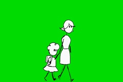 Mother and daughter walking - Animation - Hand-Drawn - Green Screen - Loop -  Stock Footage