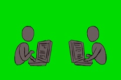 Sending emails Grey - Animation - Hand-Drawn - Green Screen - Loop Stock Footage