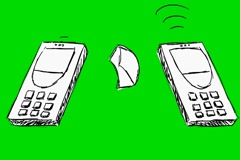 Telephone Texting Message - Animation - Hand-Drawn - Green Screen - Loop Stock Footage