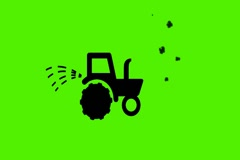 Vector Black Tractor  -  Animation - Hand-Drawn - Green Screen - Loop - blue. Stock Footage
