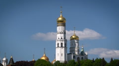 Christian Orthodox Church Near Kremlin Palace. White Tall Building. Towers With Stock Footage