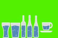 Vector Pouring Drinks -  Animation - Hand-Drawn - Green Screen - Loop - blue. Stock Footage