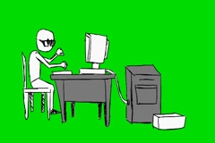 Worker printing on computer  -grey table - Animation - Hand-Drawn - Green Scr Stock Footage