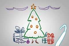 Christmas Decoration  - Hand drawn - Animation - outline - White Background Stock Footage
