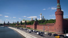 Kremlin Embankment. Vasilevsky Descent. Red Fence, Tower. Road Along the Moskow Stock Footage