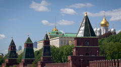 Moscow City. Kremlin Embankment. Red Brick Fence With Towers. Gold Top of Stock Footage