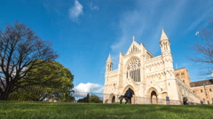 St. Albans cathedral, Hertfordshire, England - time lapse Stock Footage