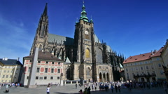 Tourists visiting Saint Vitus Cathedral on a sunny day. Stock Footage