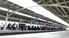 People waiting sky train for transit at Bangkok, Thailand. Stock Footage